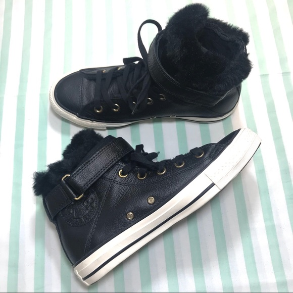 Converse Black Leather Faux Fur Lined High Tops ba4f3a3b1acfc